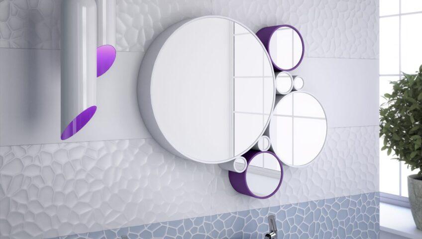 łazienka z dodatkami fioletu